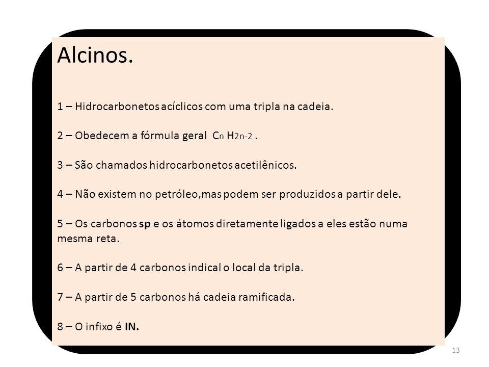 Alcinos. 1 – Hidrocarbonetos acíclicos com uma tripla na cadeia.