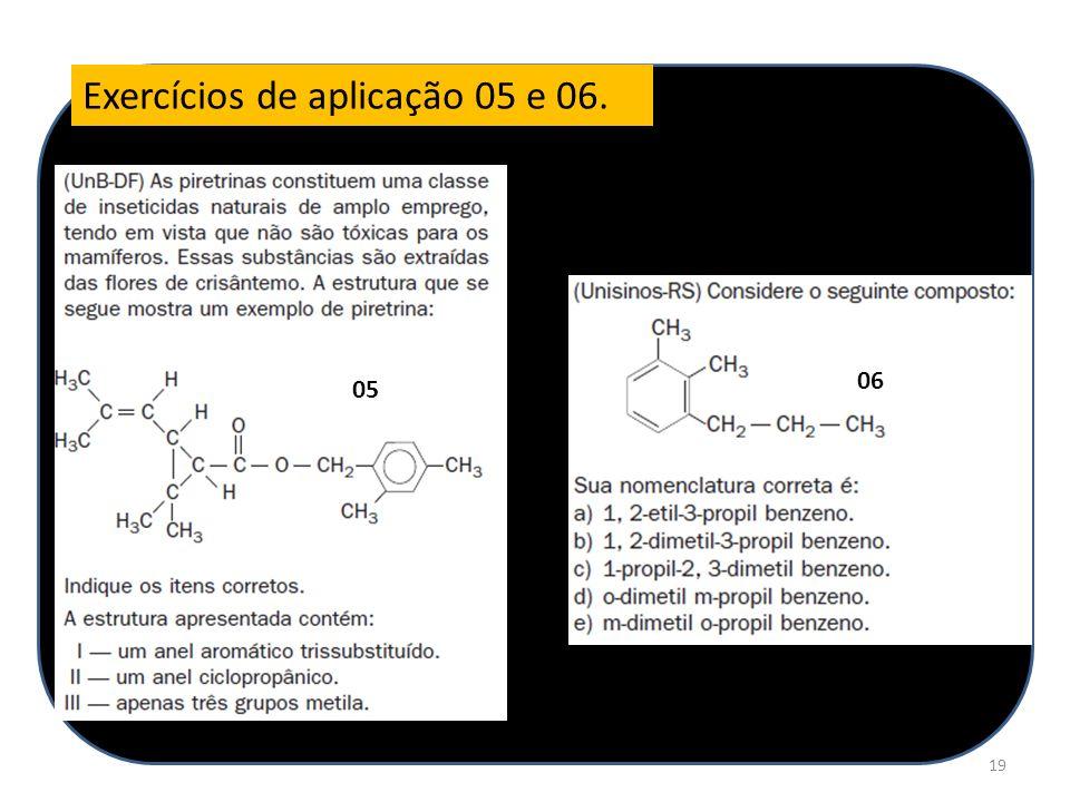 Exercícios de aplicação 05 e 06.