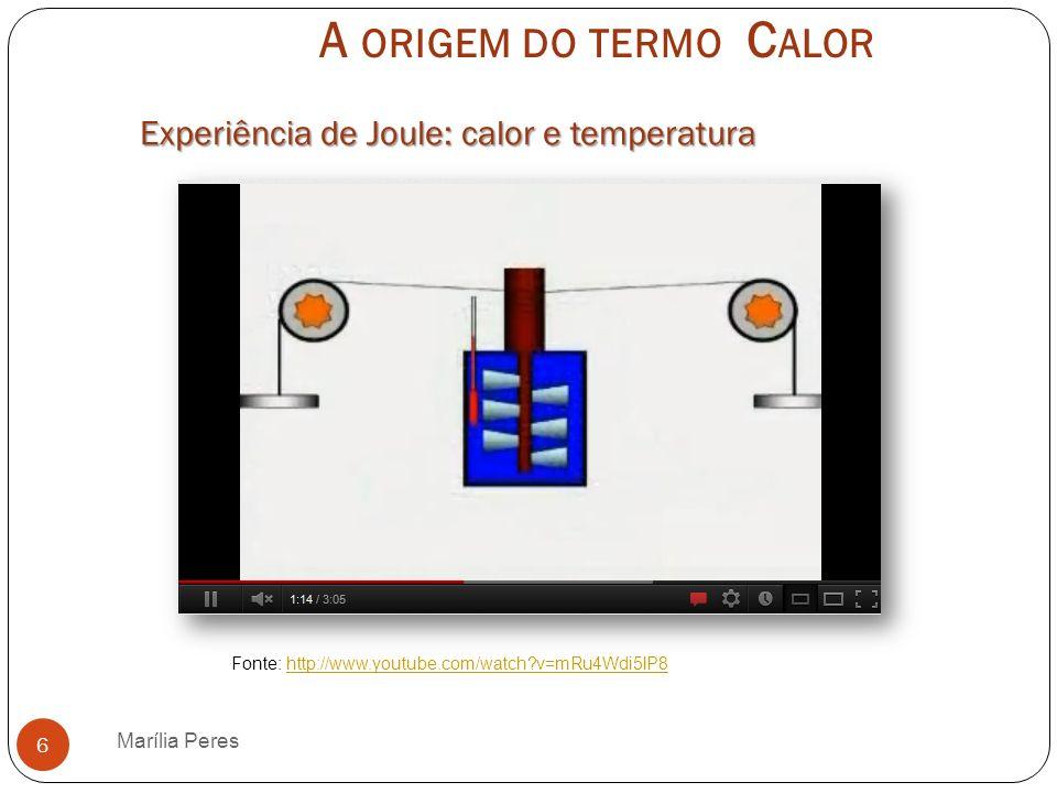 A origem do termo Calor Experiência de Joule: calor e temperatura