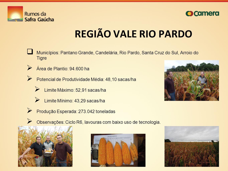 REGIÃO VALE RIO PARDO Municípios: Pantano Grande, Candelária, Rio Pardo, Santa Cruz do Sul, Arroio do Tigre.