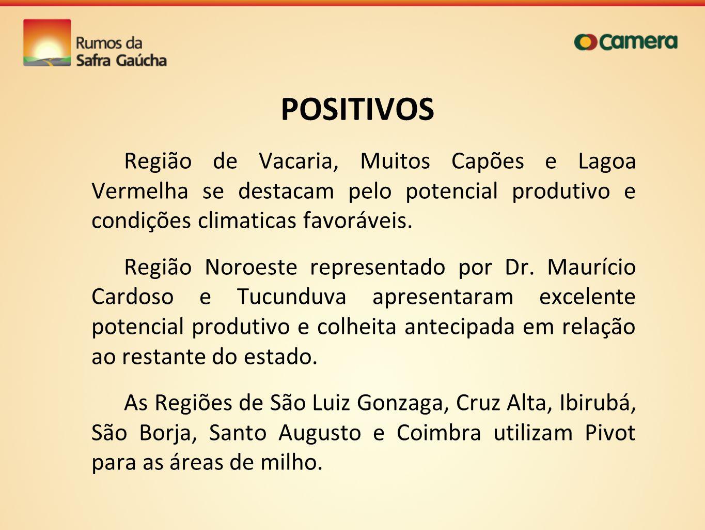 POSITIVOS Região de Vacaria, Muitos Capões e Lagoa Vermelha se destacam pelo potencial produtivo e condições climaticas favoráveis.