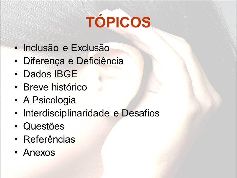 TÓPICOS Inclusão e Exclusão Diferença e Deficiência Dados IBGE