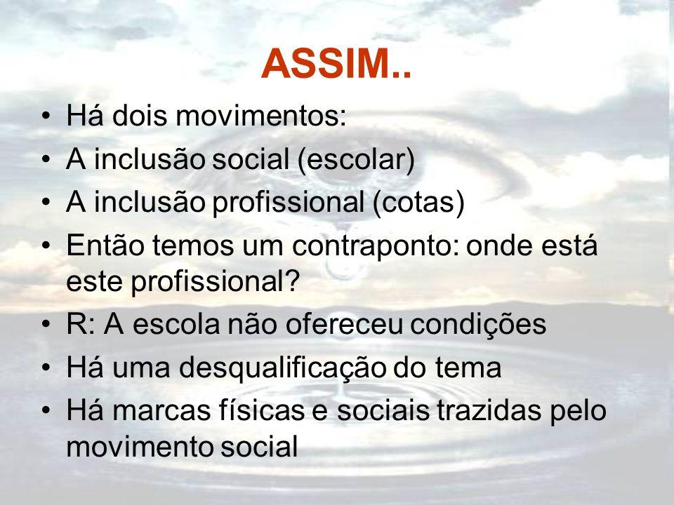 ASSIM.. Há dois movimentos: A inclusão social (escolar)