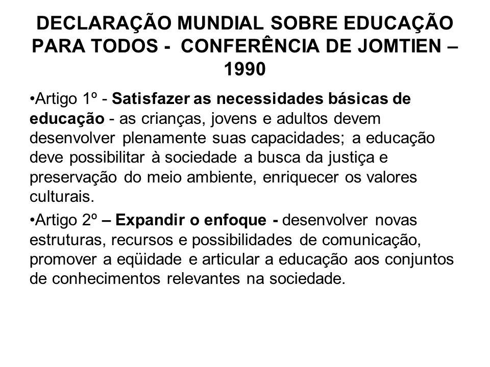DECLARAÇÃO MUNDIAL SOBRE EDUCAÇÃO PARA TODOS - CONFERÊNCIA DE JOMTIEN – 1990