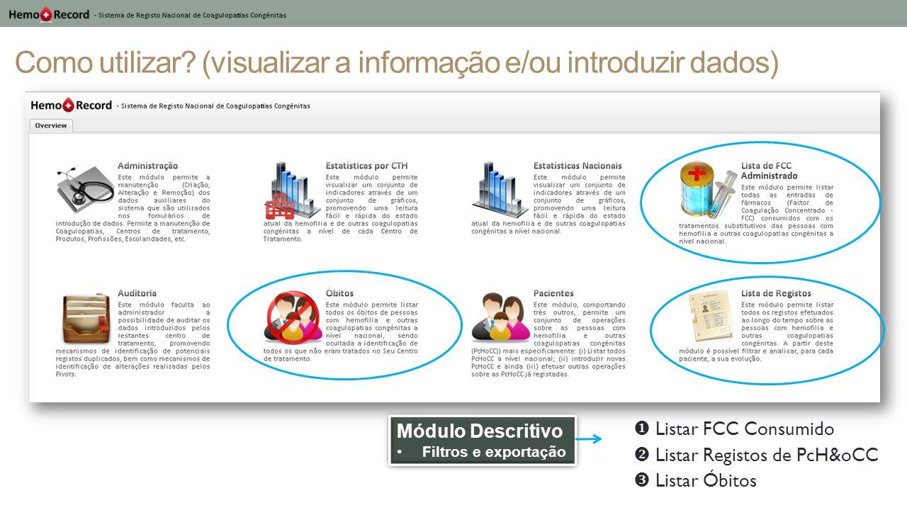 Como utilizar (visualizar a informação e/ou introduzir dados)