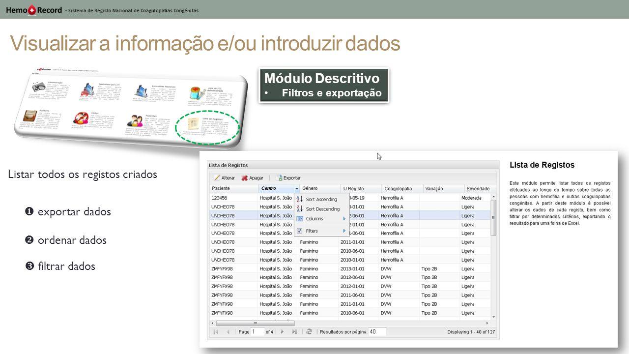 Visualizar a informação e/ou introduzir dados