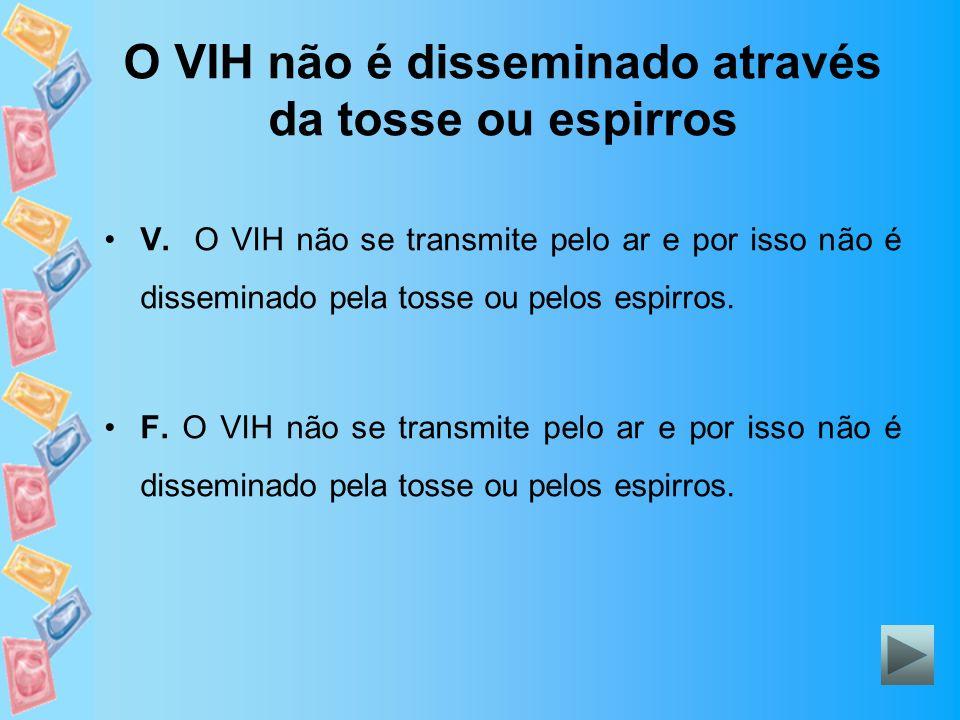 O VIH não é disseminado através da tosse ou espirros