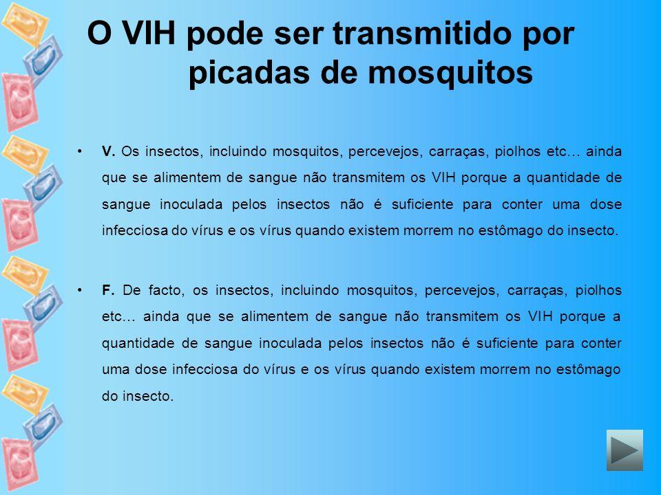 O VIH pode ser transmitido por picadas de mosquitos