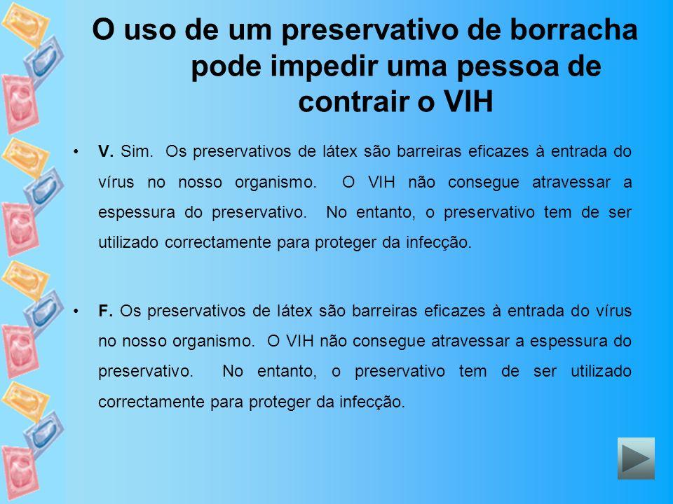 O uso de um preservativo de borracha pode impedir uma pessoa de contrair o VIH