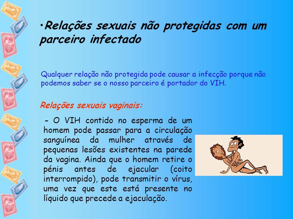 Relações sexuais não protegidas com um parceiro infectado