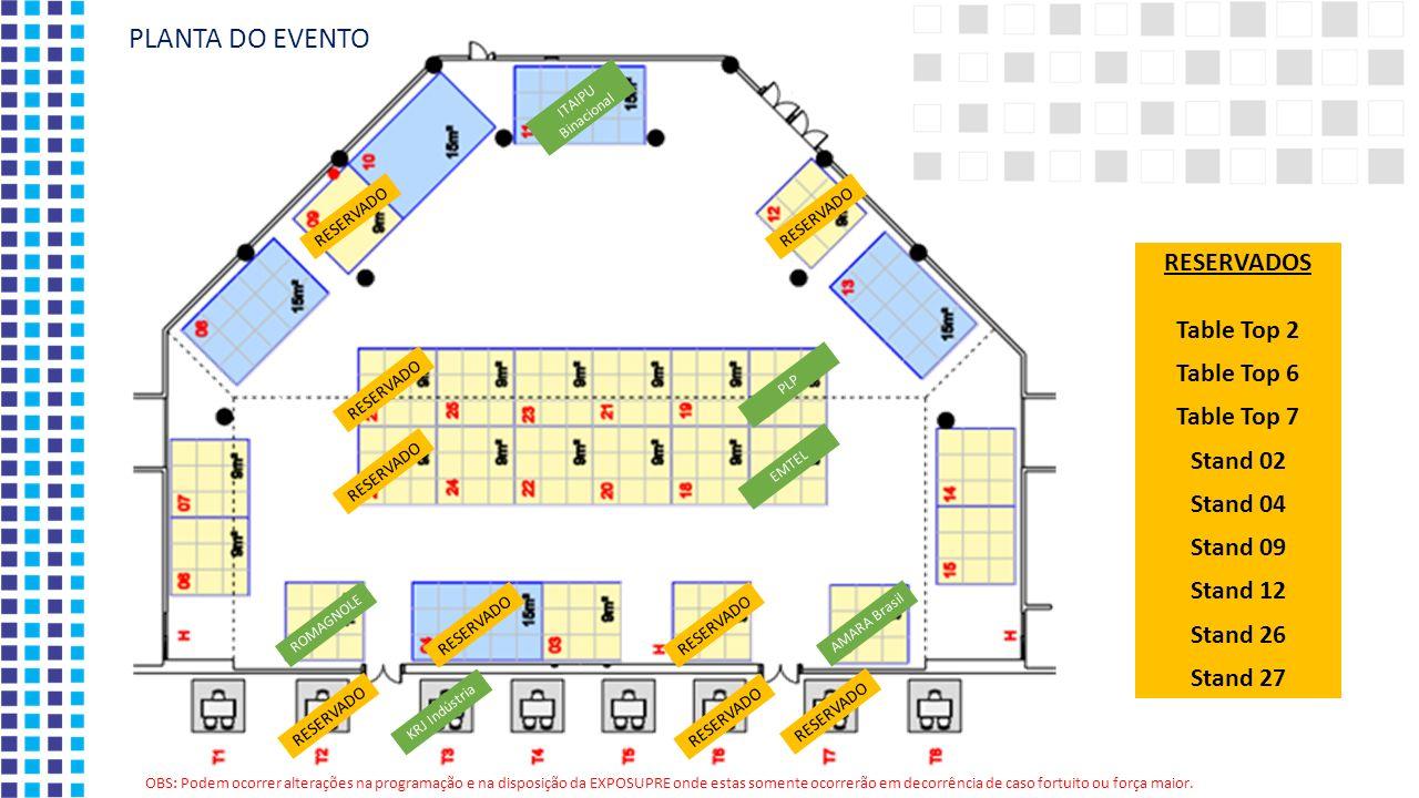 PLANTA DO EVENTO RESERVADOS Table Top 2 Table Top 6 Table Top 7