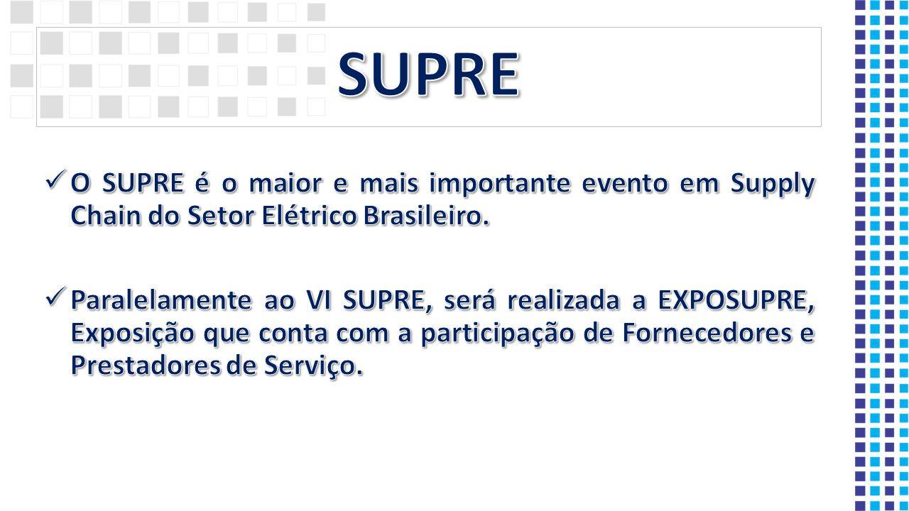 SUPRE O SUPRE é o maior e mais importante evento em Supply Chain do Setor Elétrico Brasileiro.