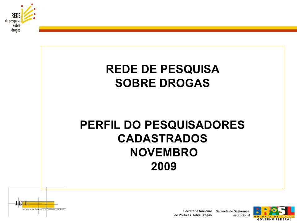 REDE DE PESQUISA SOBRE DROGAS PERFIL DO PESQUISADORES CADASTRADOS NOVEMBRO 2009