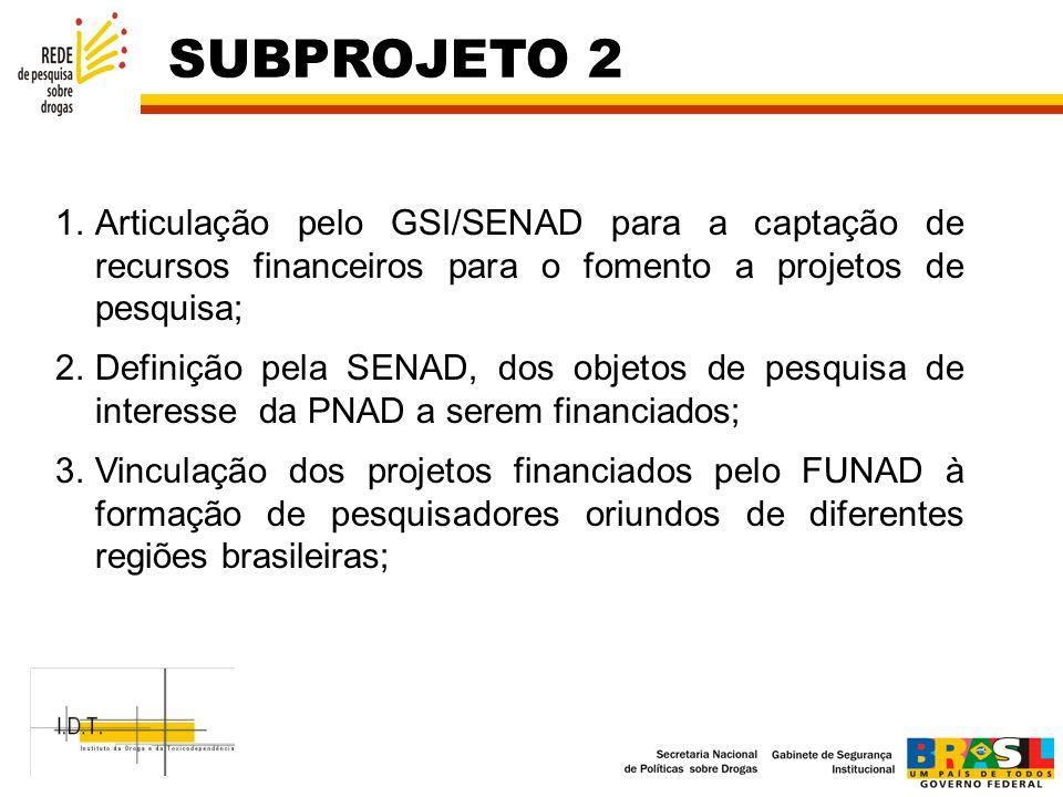 SUBPROJETO 2 Articulação pelo GSI/SENAD para a captação de recursos financeiros para o fomento a projetos de pesquisa;