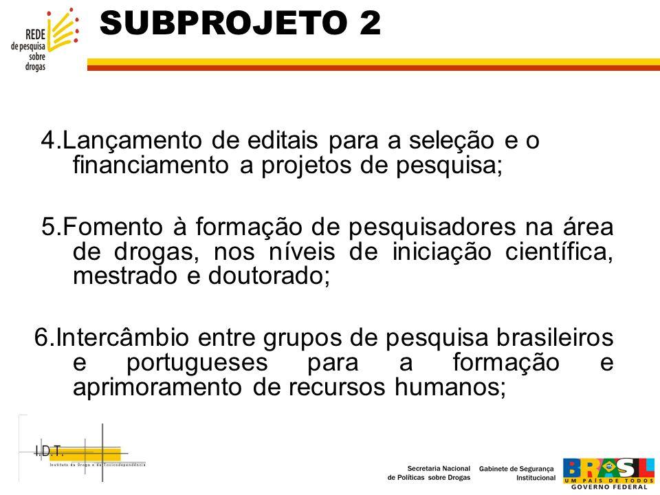 SUBPROJETO 2 4.Lançamento de editais para a seleção e o financiamento a projetos de pesquisa;