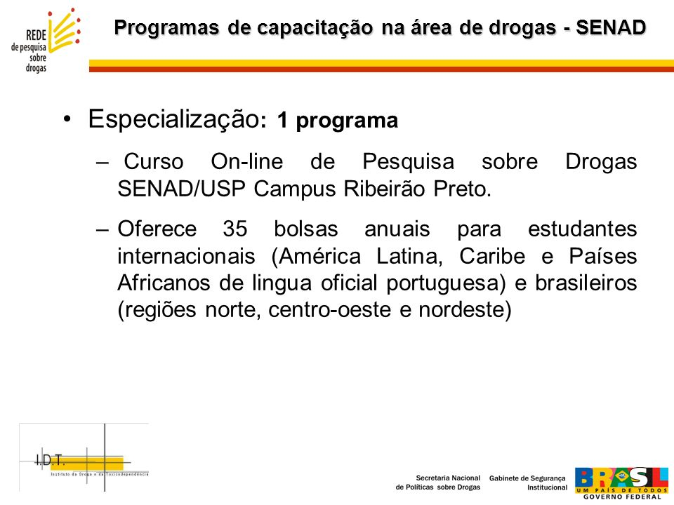 Programas de capacitação na área de drogas - SENAD