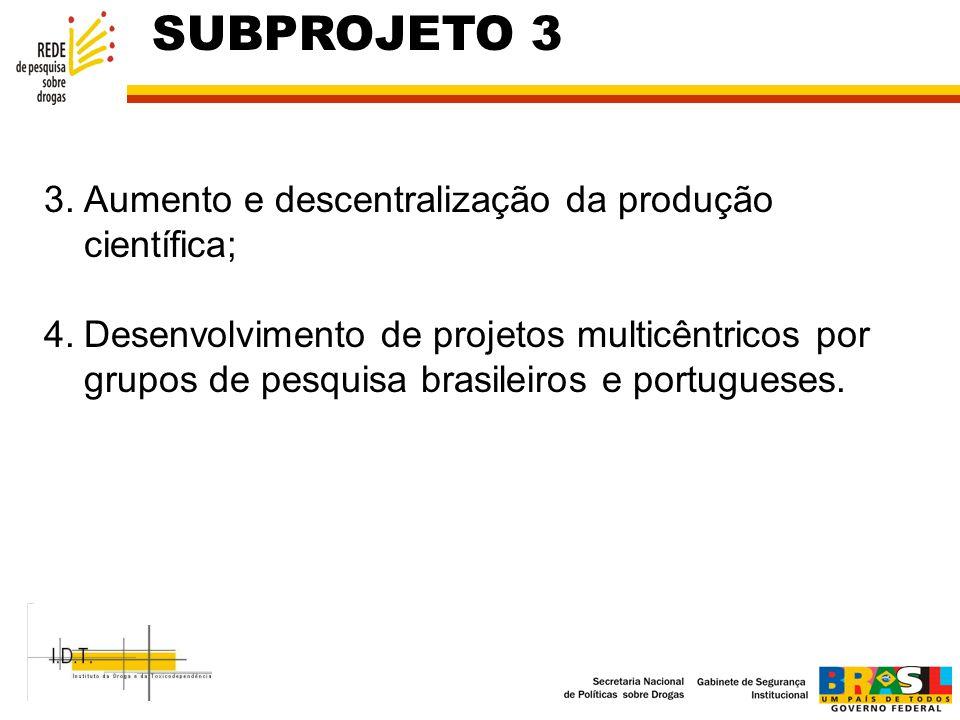 SUBPROJETO 3 Aumento e descentralização da produção científica;