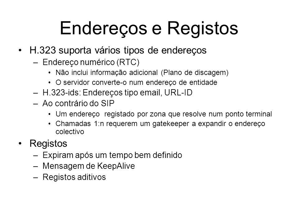 Endereços e Registos H.323 suporta vários tipos de endereços Registos