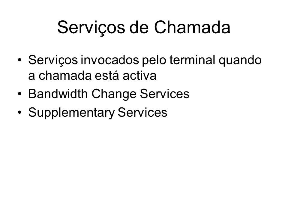 Serviços de Chamada Serviços invocados pelo terminal quando a chamada está activa. Bandwidth Change Services.