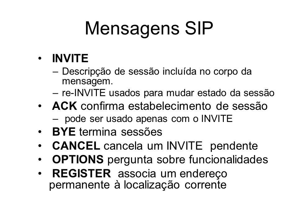 Mensagens SIP INVITE ACK confirma estabelecimento de sessão
