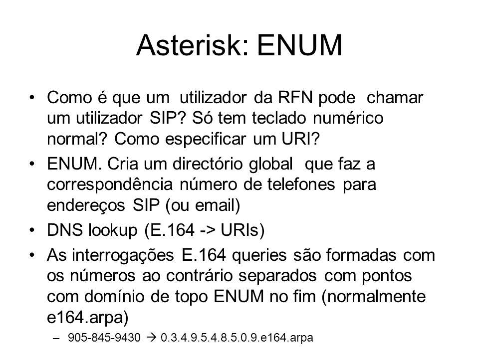 Asterisk: ENUM Como é que um utilizador da RFN pode chamar um utilizador SIP Só tem teclado numérico normal Como especificar um URI