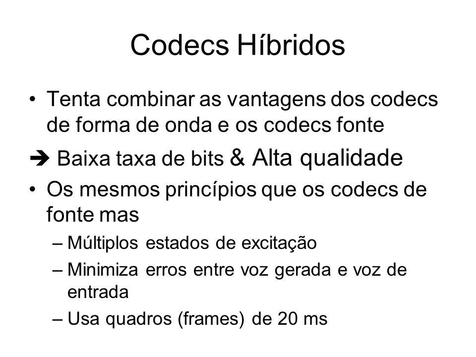 Codecs Híbridos Tenta combinar as vantagens dos codecs de forma de onda e os codecs fonte.  Baixa taxa de bits & Alta qualidade.
