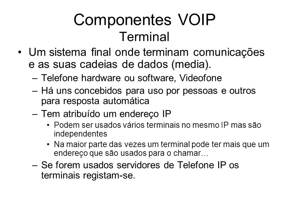 Componentes VOIP Terminal