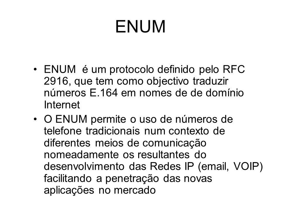 ENUM ENUM é um protocolo definido pelo RFC 2916, que tem como objectivo traduzir números E.164 em nomes de de domínio Internet.