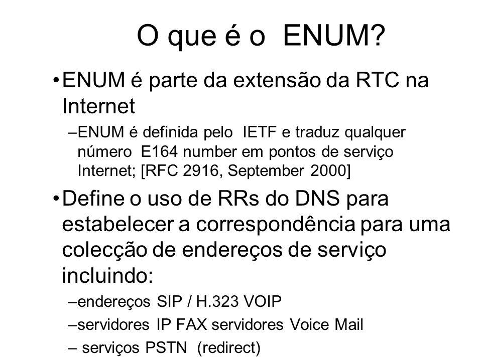 O que é o ENUM ENUM é parte da extensão da RTC na Internet