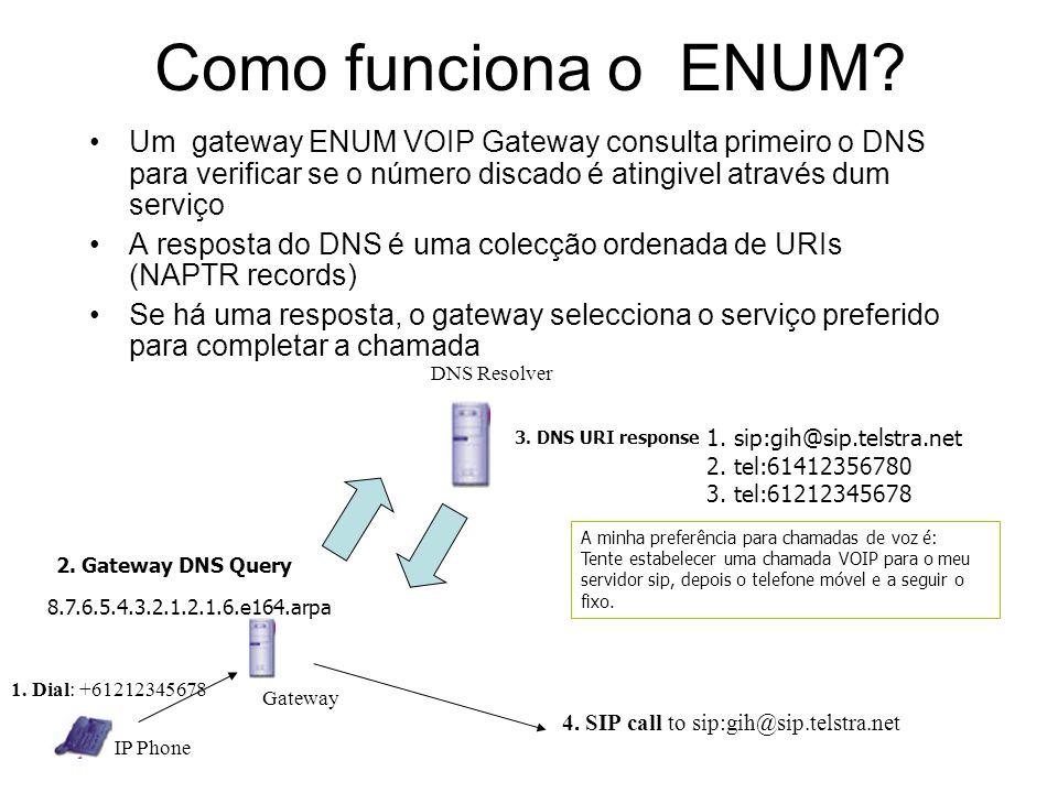 Como funciona o ENUM Um gateway ENUM VOIP Gateway consulta primeiro o DNS para verificar se o número discado é atingivel através dum serviço.