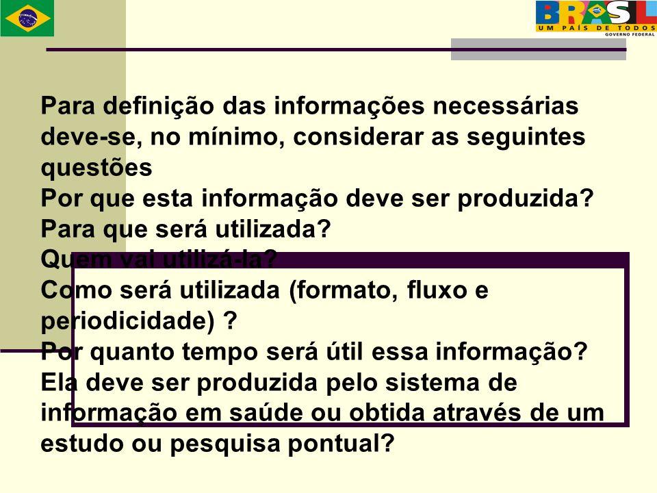 Para definição das informações necessárias deve-se, no mínimo, considerar as seguintes questões