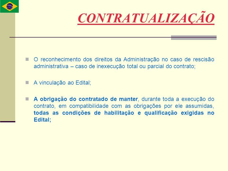 CONTRATUALIZAÇÃO O reconhecimento dos direitos da Administração no caso de rescisão administrativa – caso de inexecução total ou parcial do contrato;