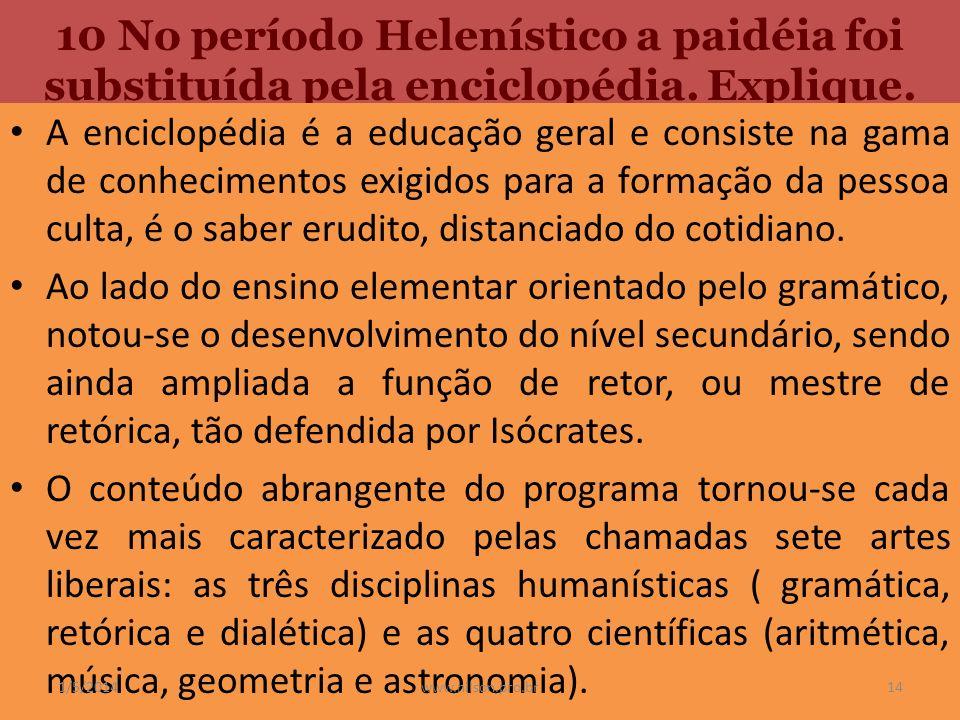 10 No período Helenístico a paidéia foi substituída pela enciclopédia