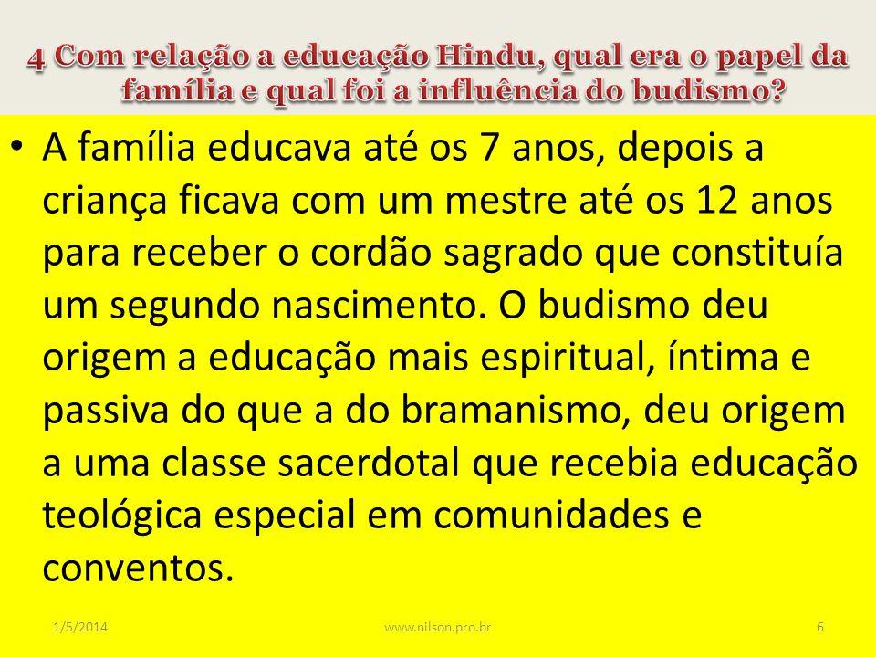 4 Com relação a educação Hindu, qual era o papel da família e qual foi a influência do budismo