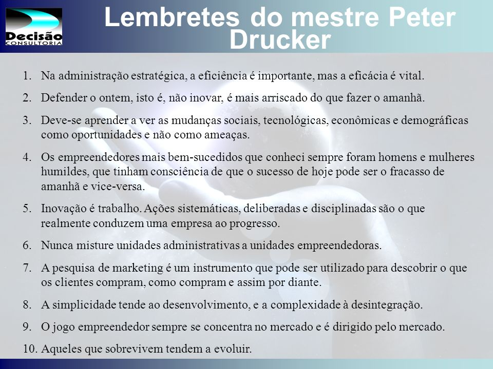 Lembretes do mestre Peter Drucker