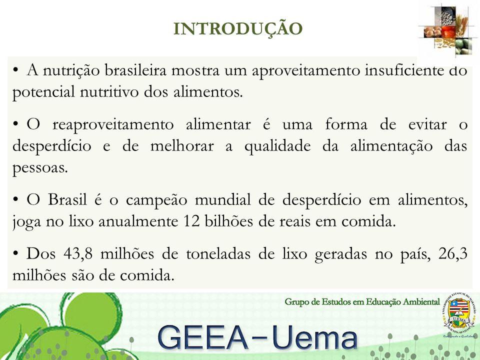 INTRODUÇÃO A nutrição brasileira mostra um aproveitamento insuficiente do potencial nutritivo dos alimentos.