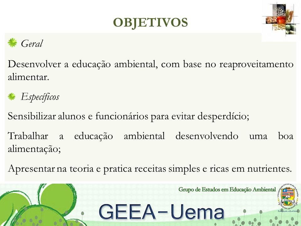 OBJETIVOS Geral. Desenvolver a educação ambiental, com base no reaproveitamento alimentar. Específicos.