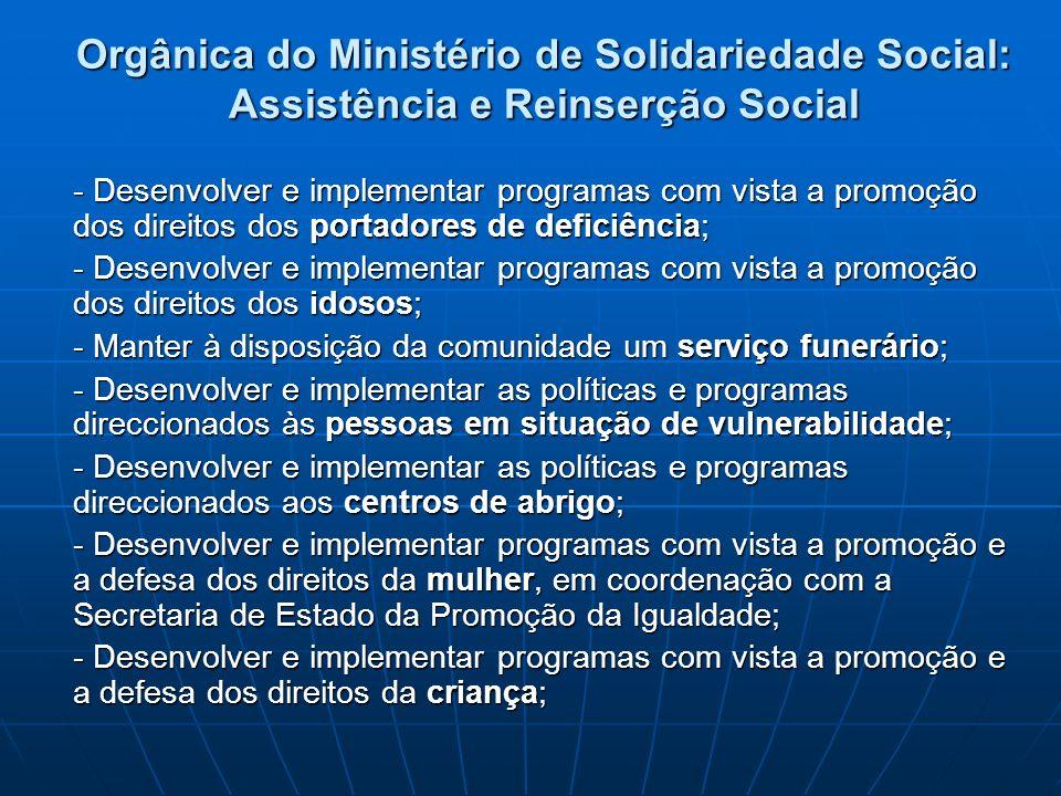 Orgânica do Ministério de Solidariedade Social: Assistência e Reinserção Social