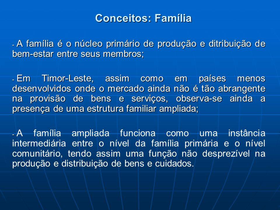 Conceitos: Família A família é o núcleo primário de produção e ditribuição de bem-estar entre seus membros;