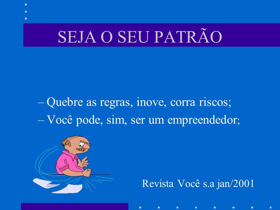 SEJA O SEU PATRÃO Quebre as regras, inove, corra riscos;
