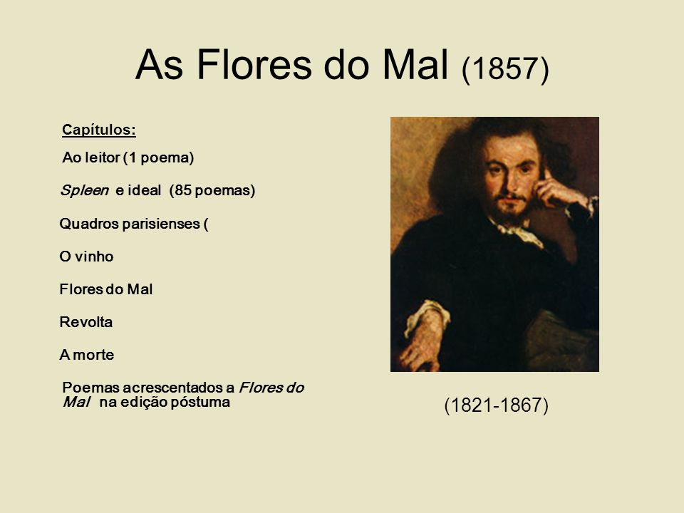 As Flores do Mal (1857) (1821-1867) Spleen e ideal (85 poemas)