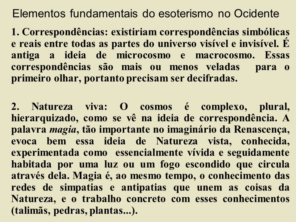 Elementos fundamentais do esoterismo no Ocidente