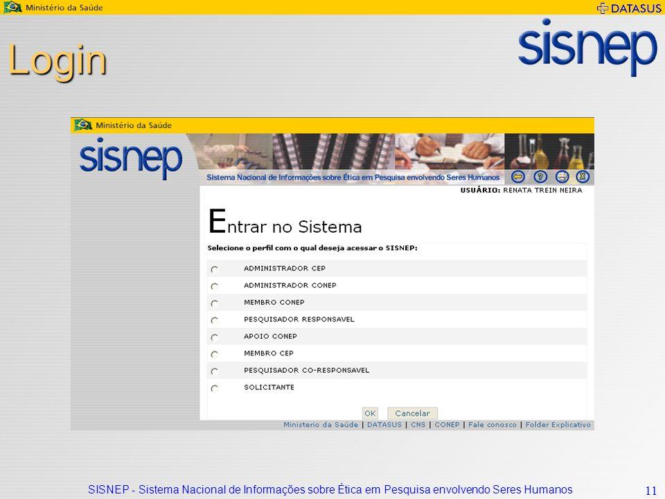 Login SISNEP - Sistema Nacional de Informações sobre Ética em Pesquisa envolvendo Seres Humanos