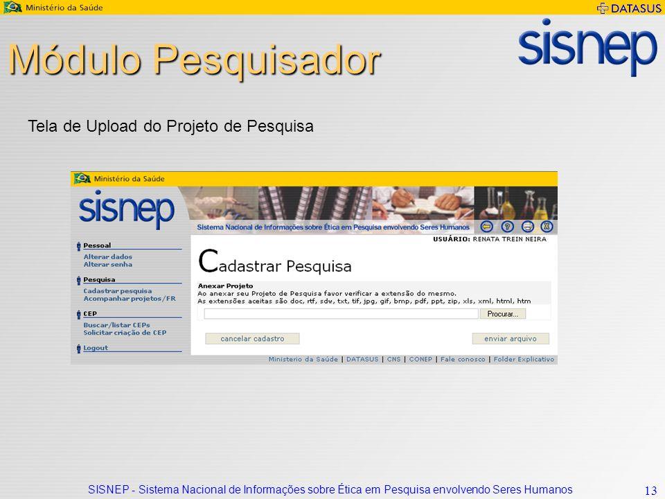 Módulo Pesquisador Tela de Upload do Projeto de Pesquisa