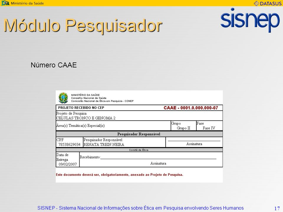 Módulo Pesquisador Número CAAE