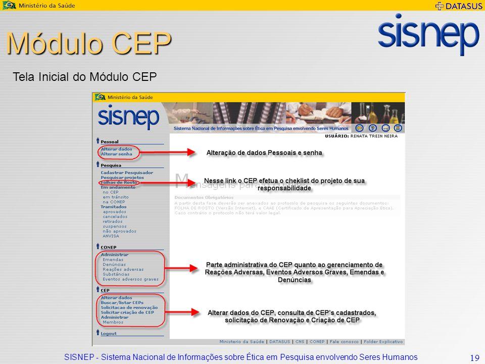 Módulo CEP Tela Inicial do Módulo CEP