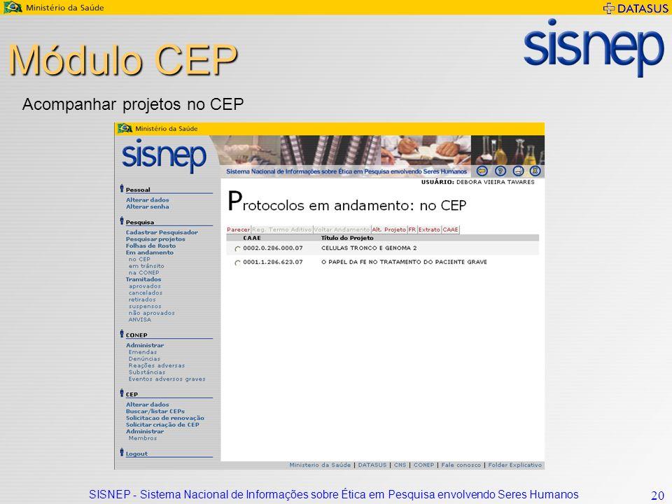 Módulo CEP Acompanhar projetos no CEP