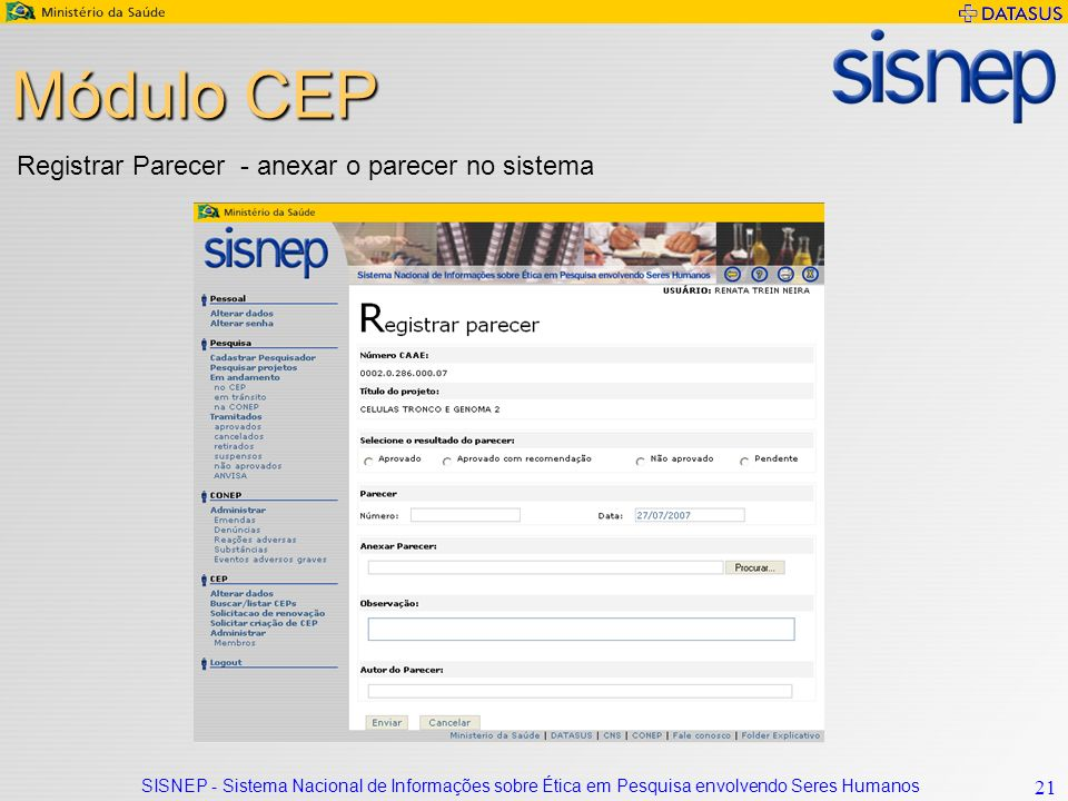 Módulo CEP Registrar Parecer - anexar o parecer no sistema
