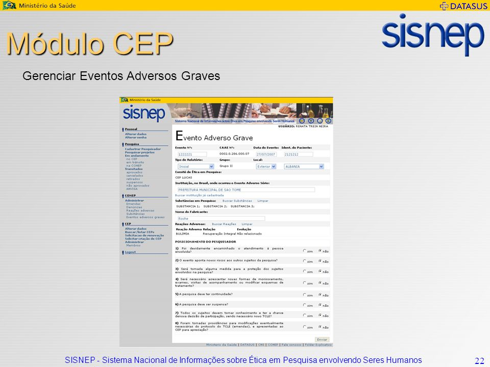 Módulo CEP Gerenciar Eventos Adversos Graves