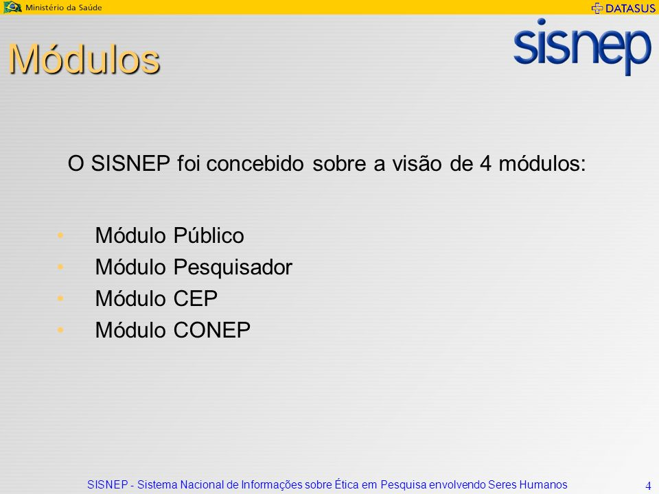 Módulos O SISNEP foi concebido sobre a visão de 4 módulos: